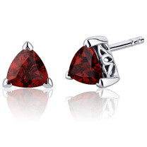 2.00 Carats Garnet Trillion Cut V Prong Stud Earrings in Sterling Silver Style SE7998
