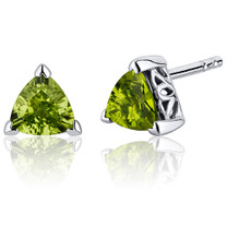 1.50 Carats Peridot Trillion Cut V Prong Stud Earrings in Sterling Silver Style SE8000