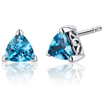 1.50 Carats Swiss Blue Topaz Trillion Cut V Prong Stud Earrings in Sterling Silver Style SE8002