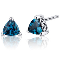 1.50 Carats London Blue Topaz Trillion Cut V Prong Stud Earrings in Sterling Silver Style SE8004