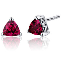2.00 Carats Ruby Trillion Cut V Prong Stud Earrings in Sterling Silver Style SE8006