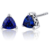 2.00 Carats Blue Sapphire Trillion Cut V Prong Stud Earrings in Sterling Silver Style SE8008