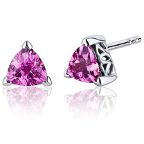 2.00 Carats Pink Sapphire Trillion Cut V Prong Stud Earrings in Sterling Silver Style SE8010