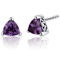 2.00 Carats Alexandrite Trillion Cut V Prong Stud Earrings in Sterling Silver Style SE8012