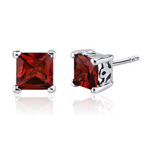 2.50 Carats Garnet Princess Cut Scroll Design Stud Earrings in Sterling Silver Style SE8016