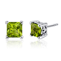 2.00 Carats Peridot Princess Cut Scroll Design Stud Earrings in Sterling Silver Style SE8018