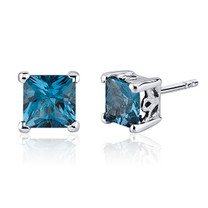 2.50 Carats London Blue Topaz Princess Cut Scroll Design Stud Earrings in Sterling Silver Style SE8022