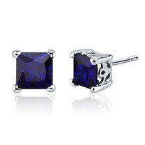 2.50 Carats Blue Sapphire Princess Cut Scroll Design Stud Earrings in Sterling Silver Style SE8026
