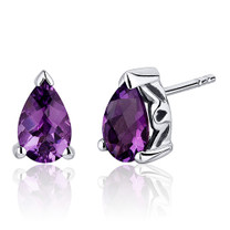 1.50 Carats Amethyst Pear Shape Basket Style Stud Earrings in Sterling Silver Style SE8032