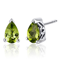 1.50 Carats Peridot Pear Shape Basket Style Stud Earrings in Sterling Silver Style SE8036