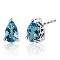 1.50 Carats London Blue Topaz Pear Shape Basket Style Stud Earrings in Sterling Silver Style SE8040