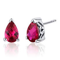 2.00 Carats Ruby Pear Shape Basket Style Stud Earrings in Sterling Silver Style SE8042