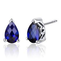 2.00 Carats Blue Sapphire Pear Shape Basket Style Stud Earrings in Sterling Silver Style SE8044