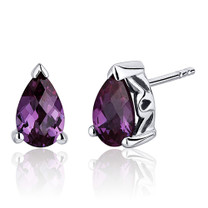 2.00 Carats Alexandrite Pear Shape Basket Style Stud Earrings in Sterling Silver Style SE8048