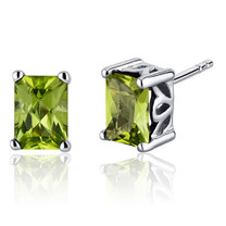 Radiant Cut 2.00 Carats Peridot Stud Earrings in Sterling Silver Style SE8054