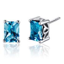 Radiant Cut 2.00 Carats Swiss Blue Topaz Stud Earrings in Sterling Silver Style SE8056