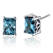 Radiant Cut 2.00 Carats London Blue Topaz Stud Earrings in Sterling Silver Style SE8058