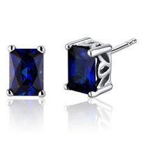 Radiant Cut 2.50 Carats Blue Sapphire Stud Earrings in Sterling Silver Style SE8062