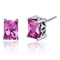 Radiant Cut 2.50 Carats Pink Sapphire Stud Earrings in Sterling Silver Style SE8064