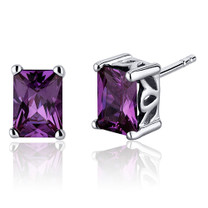 Radiant Cut 2.50 Carats Alexandrite Stud Earrings in Sterling Silver Style SE8066