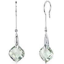 Onion Cut 11.00 Carats Green Amethyst Dangle Earrings in Sterling Silver Style SE8126