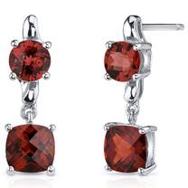 Cushion Cut 3.50 Carats Garnet Earrings in Sterling Silver Style SE8136