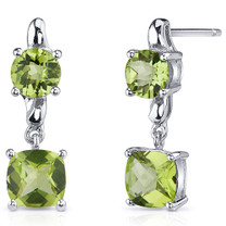 Cushion Cut 3.25 Carats Peridot Earrings in Sterling Silver Style SE8138
