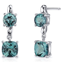 Cushion Cut 4.00 Carats Alexandrite Earrings in Sterling Silver Style SE8142