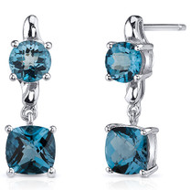 Cushion Cut 3.25 Carats London Blue Topaz Earrings in Sterling Silver Style SE8148