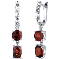 French Clip 4.50 Carats Garnet Cut Earrings in Sterling Silver Style SE8152