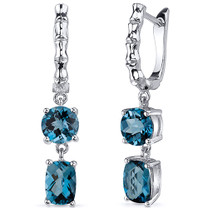 French Clip 4.00 Carats London Blue Topaz Earrings in Sterling Silver Style SE8164
