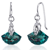 Spectacular Shell Cut 12.00 carats Alexandrite Fishhook Earrings Sterling Silver Style SE8168
