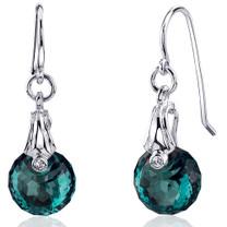 Spherical Cut 11.00 carats Alexandrite Fishhook Earrings Sterling Silver Style SE8170