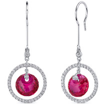 Circle of Life 12.00 Carats Ruby Spherical Cut Dangle Earrings in Sterling Silver Style SE8178