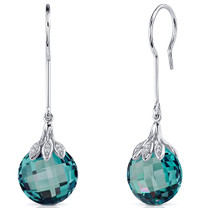 Double Sided 18.00 Carats Alexandrite Dangle Earrings in Sterling Silver Style SE8186