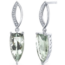 Half Marquise Cut 6.00 Carats Green Amethyst Earrings in Sterling Silver Style SE8194