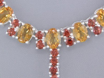 55.75 cts Oval Citrine & Round Garnet Necklace in Sterling Silver Style SB1320