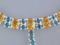 51.25 cts Oval Citrine & Round London Blue Topaz Necklace in Sterling Silver Style SB1328