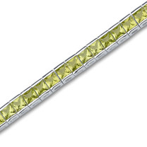 16.00 carats Princess Cut Peridot Gemstone Tennis Bracelet in Sterling Silver Style sb2682