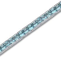 16.75 Carats Princess Cut Swiss Blue Topaz Tennis Bracelet in Sterling Silver Style sb2684