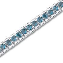 11.25 carats Round Cut London Blue Topaz Gemstone TennisBracelet in Sterling Silver Style sb2696