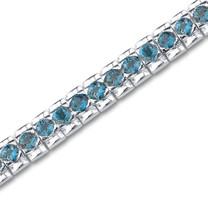 11.25 carats Round Cut London Blue Topaz Gemstone TennisBracelet in Sterling Silver Style sb2696
