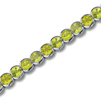 Classic 18.25 carats Round Cut Peridot Gemstone Tennis Bracelet in Sterling Silver Style SB2750