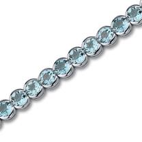 Elegant 19.00 Carats Round Cut Swiss Blue Topaz Tennis Bracelet in Sterling Silver Style SB2752