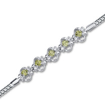 1.50 carats Round Shape Peridot & White CZ Gemstone Bracelet in Sterling Silver Style sb2768