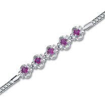 Round Cut Created Ruby & White CZ Gemstone Bracelet in Sterling Silver Style sb2774