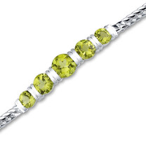 4.75 carats Round Cut Peridot Bracelet in Sterling Silver Style sb2784