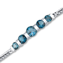5.00 carats Round Cut London Blue Topaz Bracelet in Sterling Silver Style sb2788