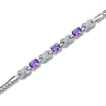 1.25 carats Oval Cut Amethyst & White CZ Gemstone Bracelet in Sterling Silver Style sb2796