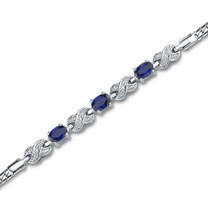 Oval Cut Created Sapphire & White CZ Gemstone Bracelet in Sterling Silver Style sb2808